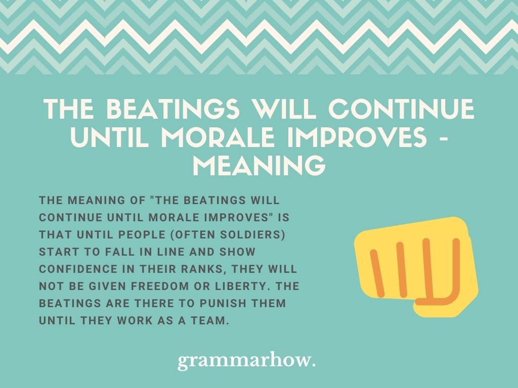 """What Does """"The Beatings Will Continue Until Morale Improves"""" Mean?"""