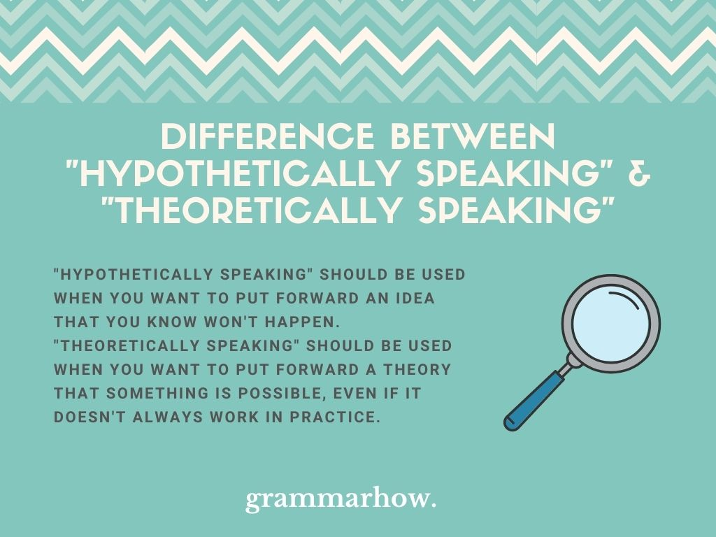 """What Is The Difference Between """"Hypothetically Speaking"""" And """"Theoretically Speaking""""?"""