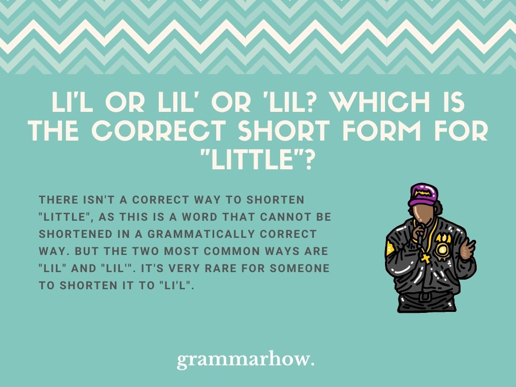 """Li'l Or Lil' Or 'Lil? Which Is The Correct Short Form For """"Little""""?"""