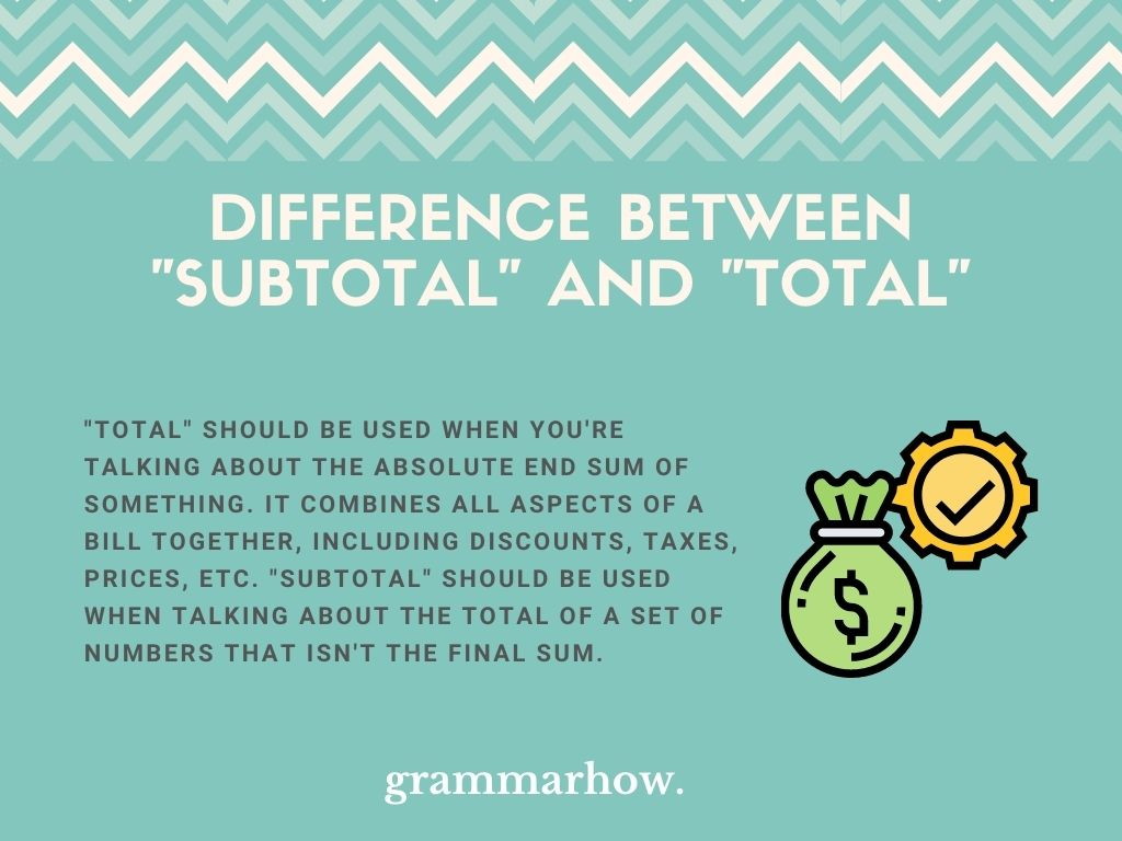 """What Is The Difference Between """"Subtotal"""" And """"Total""""?"""