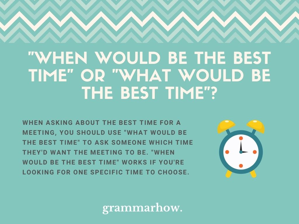 """Should I Use """"When Would Be The Best Time"""" Or """"What Would Be The Best Time""""?"""